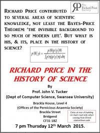 Richard Price in the history of science - by Prof John V. Tucker @ the Pernicious Anaemia Society Offices