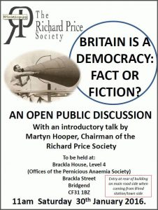 Britain is a democracy: fact or fiction? @ Offices of the Pernicious Anaemia Society